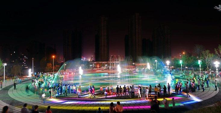 吴王山森林公园音乐喷泉吸引市民纷至沓来