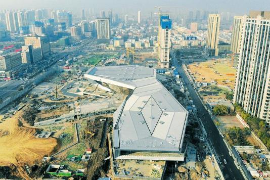 太原市滨河体育中心建筑主体已经完工