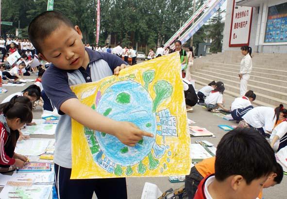 侯马市:小学生绘画宣传环保倡导低碳生活